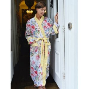 Floral Lemon Pom Pom Ladies Dressing Gown – One Size