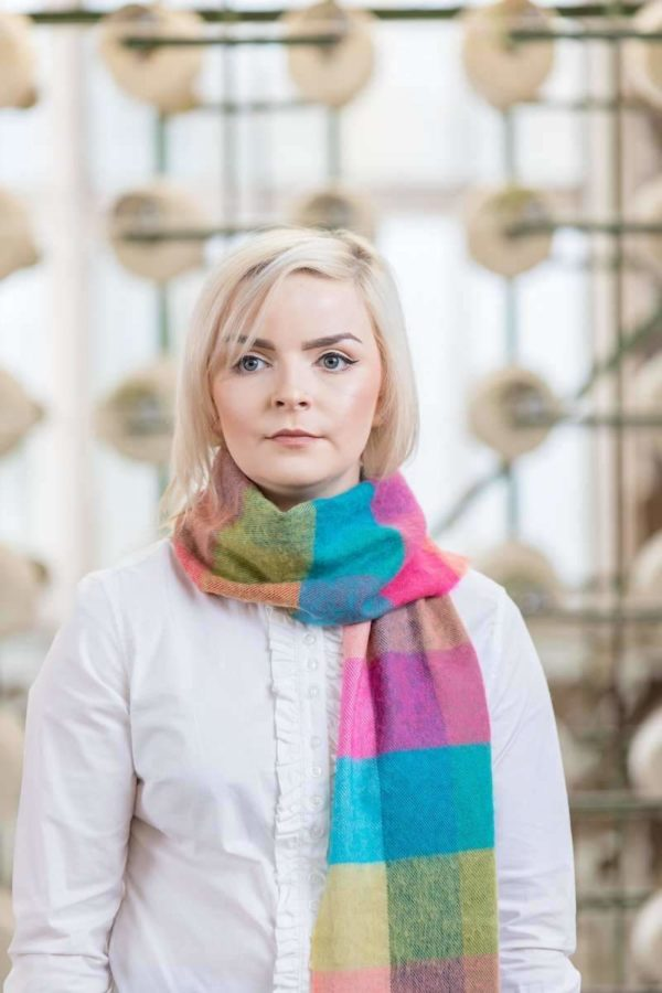 Jade Pink & Quinell Extra Fine Merino Check Scarf