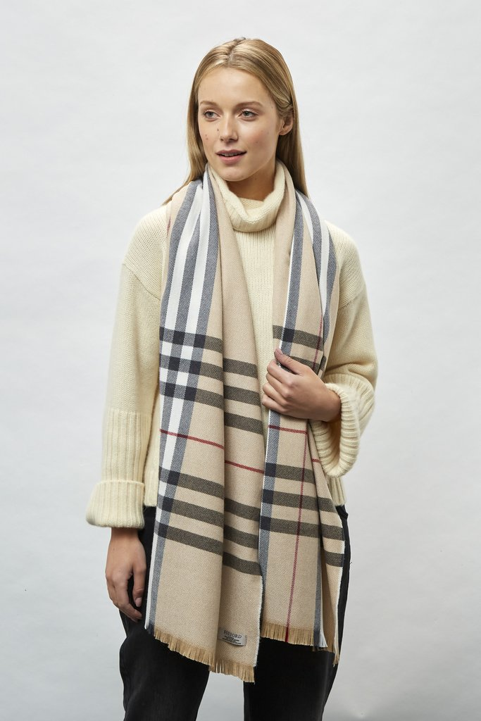 Classic Check Camel, Black & White With Red Extra Fine Merino Stole