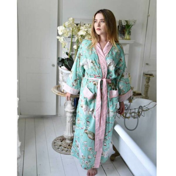 Mint Green Blossom Ladies Cotton Dressing Gown – One Size