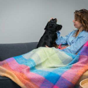 MOHAIR THROW – BRIGHTS LARGE CHECK