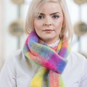 Bright Check Mohair Scarf