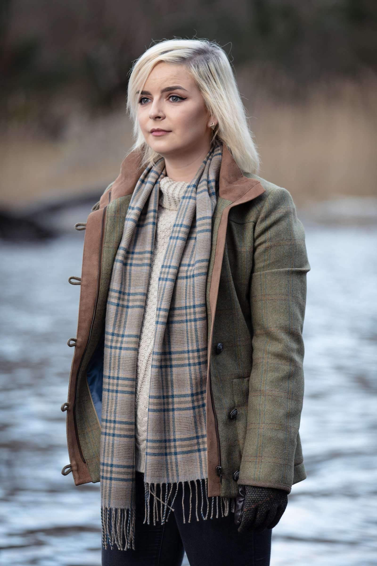 Camel and Blue Glen Check Scarf