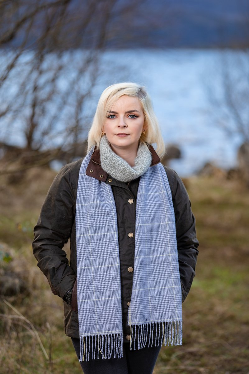 Grey and Yellow Glen Check Scarf