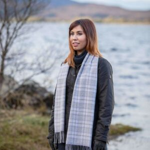 Mink and Pink Glen Check Scarf