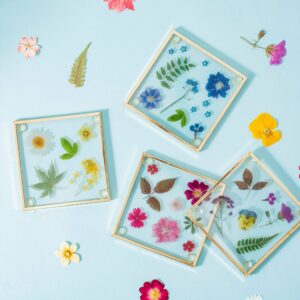 Pressed Flowers Glass Coasters