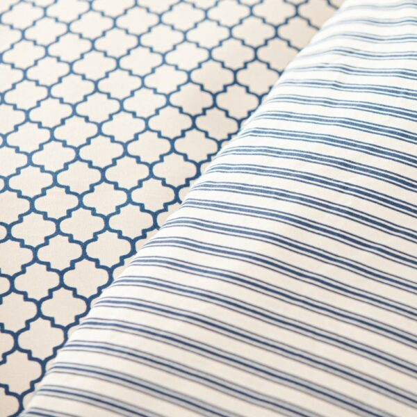 Navy & Cream Ticking Fitted Sheet