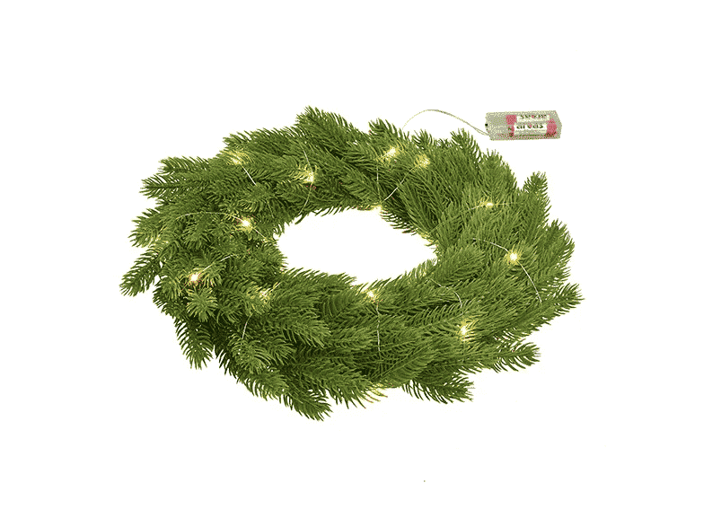 Artificial Christmas wreath with twinkly lights